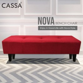 Cassa Nova120 4 Feet Long Stool Bench Chair Fabric Sofa Ottoman Living Room Bedroom Cafe Kerusi (Blue / Red / Grey / Green )