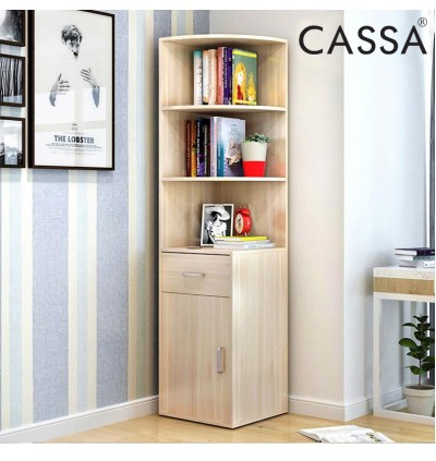 [BIGGER SIZE] Cassa Corner Book Shelf Book Cabinet Decorative Shelf (Maple/Cherry)