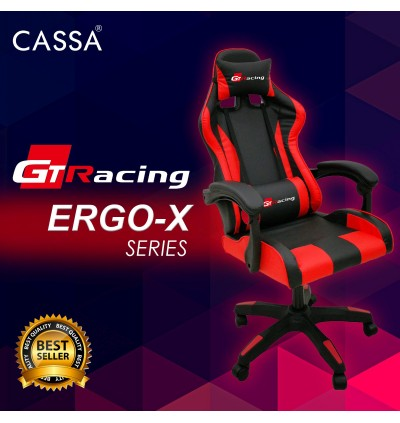 Cassa GT-Racing ERGO-X Series Back Ergonomic Racing Style Adjustable Gaming Executive Office Chair Black Red (Without Leg Rest/With Leg Rest)