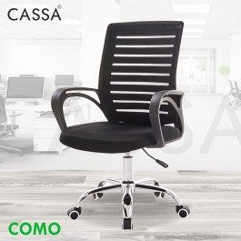 Cassa Como Strong Back Support Ergonomic Designed Middle Height Adjustable Mesh Backrest Chrome Leg Office Chair