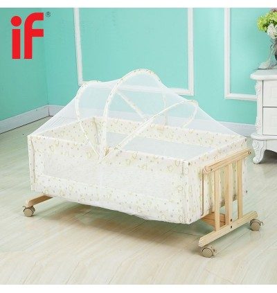 Cassa Cradle Baby Cot Baby Mattress Infant-To-Toddler Natural Wood Rocking Swing Bed Moses Basket come with Adjustable Mosquito Net Cover