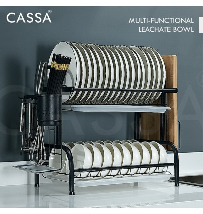 Cassa SIGMA 304 Stainless Steel 2 Layers/ 3 Layers Kitchen Dish Drying Rack with Cutting Board Holder and Dish Drainer for Kitchen Counter (Rak Pinggan Mangkuk) Black/Silver