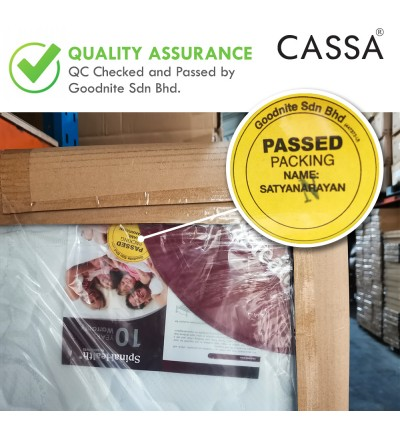 """Cassa Goodnite GRECO Luxury Firm 10"""" Queen/King Mosfree Fabric Top ( Anti-Mosquito ) Coconut Layering+Spinahealth Posture Spring mattress only (10 Years Warranty)"""