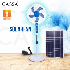 Cassa Solar DC Stand Fan 16 inch blade with Solar Panel / Ac Adapter USB Charger