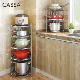 Cassa Delta Kitchen 2 Layers / 3 Layers / 4 Layers / 5 Layers Multilevel Pot Rack Pan Rack Stainless Steel Kitchen Rack