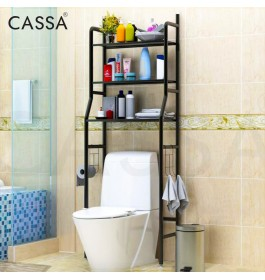 Cassa Lapo 3 Tiers Bathroom Washroom Toilet Bowl Utilities Rack Shelves Shelf Save Space Organizer Organiser Container Storage Towel Hooks Shampoo Hanger Basin Basket Anti-rust Stainless Steel Laundry Lavatory