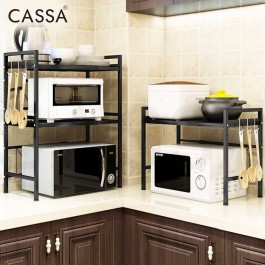 Cassa ZETA LOTA 2Tiers / 3Tiers Extendable Carbon Steel Rack Microwave Oven Rice Cooker Rack Kitchen Dapur Kitchen Counter Shelf Organizer Storage (White/Black)