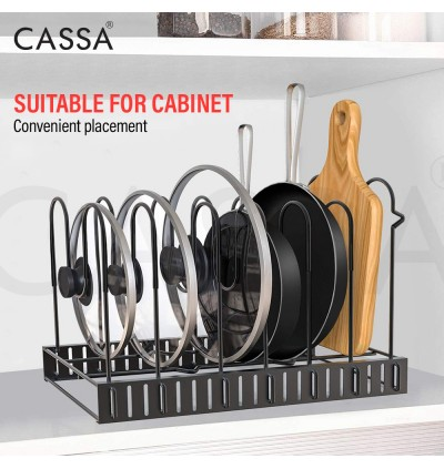 Cassa SONATA 5 Tiers/ 8 Tiers Level Adjustable Pan Pot Lid Cover Holder Cookware Bakeware Chopping Board Organizer Rack (Foldable and Easy store)