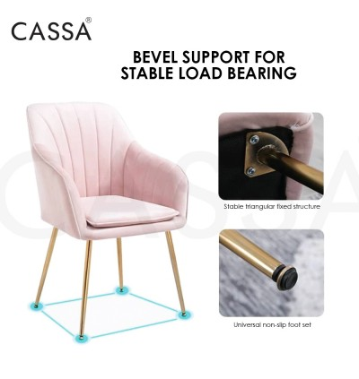 Cassa Rossy Pink [Armrest + High Comfort Cushion seat + Gold Metal Legs] High Weight Support Up to 150KG Office/Dining/Makeup Arm Chair Designer Chair Living Room Dining Room Bedroom