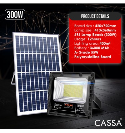 Cassa Hi Quality Led Solar [300W] Tempered Glass IP67 Waterproof Outdoor Spotlight Floodlight Fast Charging [ A-Level Solar Panel ] Usage Up to 8-12Hours Come with 180 Degree Rotation Bracket (1 Year Warranty)