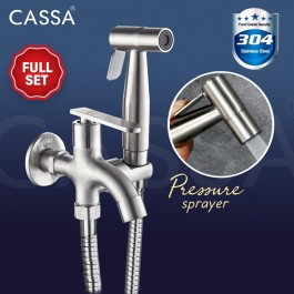Cassa 304 Stainless Steel Full set Two Way Tap Bathroom toilet Faucet with Bidet Spray Holder and Flexible Hose