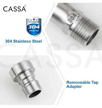 Cassa Stainless Steel SUS304 Kitchen Bathroom Washing Machine Sink Faucet Wall Bib Water Tap