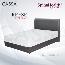 Cassa Goodnite Reese Black Fabric Queen Bed Frame Headboard with 10 Inches High Divan Only (Heavy Duty - Wood Structure)