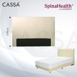 Cassa Goodnite Freya Cream Fabric Queen Bed Frame Headboard with 10 Inches High Divan Only (Heavy Duty - Wood Structure)