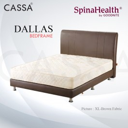 [FREE BED INSTALLATION CHARGE] Cassa Goodnite Dallas Brown Fabric Queen Bed Frame Headboard with 11 Inches High Divan Only (Heavy Duty - Wood Structure)