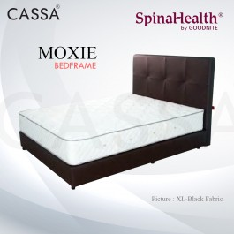 Cassa Goodnite Moxie Black Fabric Queen Bed Frame Headboard with 11 Inches High Divan Only (Heavy Duty - Wood Structure)