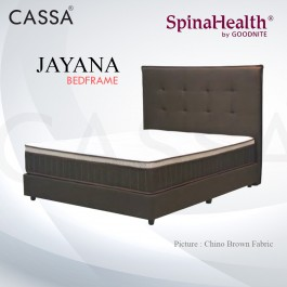 Cassa Goodnite Jayana Brown Fabric Queen Bed Frame Headboard with 11 Inches High Divan Only (Heavy Duty - Wood Structure)