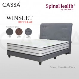 Cassa Goodnite Winslet Brown / Dark Grey Fabric Queen Bed Frame Headboard with 10 Inches High Divan Only (Heavy Duty - Wood Structure)