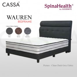 Cassa Goodnite Wauren Brown / Dark Grey Fabric Queen Bed Frame Headboard with 10 Inches High Divan Only (Heavy Duty - Wood Structure)