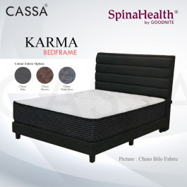 Cassa Goodnite Karma Brown / Dark Grey Fabric Queen Bed Frame Headboard with 10 Inches High Divan Only (Heavy Duty - Wood Structure)