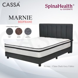 Cassa Goodnite Marnie Brown / Dark Grey Fabric Queen Bed Frame Headboard with 10 Inches High Divan Only (Heavy Duty - Wood Structure)