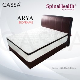 Cassa Goodnite Arya Black Fabric Queen Bed Frame Headboard with 11 Inches High Divan Only (Heavy Duty - Wood Structure)