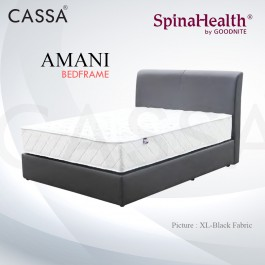 Cassa Goodnite Amani Black Fabric Queen Bed Frame Headboard with 12 Inches High Divan Only (Heavy Duty - Wood Structure)