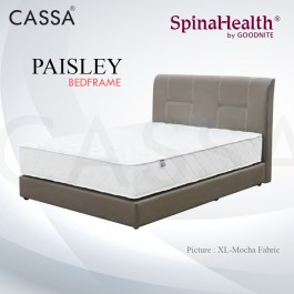 Cassa Goodnite Paisley Mocha Fabric Queen Bed Frame Headboard with 9 Inches High Divan Only (Heavy Duty - Wood Structure)