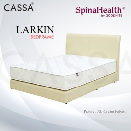 Cassa Goodnite Larkin Cream Fabric Queen Bed Frame Headboard with 9 Inches High Divan Only (Heavy Duty - Wood Structure)