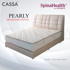Cassa Goodnite Pearly Cream Fabric Queen Bed Frame Headboard with 8.5 Inches High Divan Only (Heavy Duty - Wood Structure)