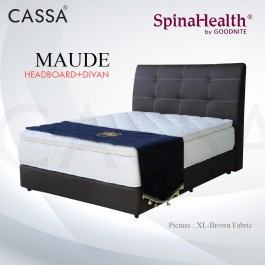 Cassa Goodnite Maude Brown Fabric Queen Bed Frame Headboard with 11 Inches High Divan Only (Heavy Duty - Wood Structure)