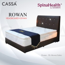 Cassa Goodnite Rowan Brown Fabric Queen Bed Frame Headboard with 11 Inches High Divan Only (Heavy Duty - Wood Structure)