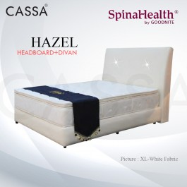 Cassa Goodnite Hazel White Fabric Queen Bed Frame Headboard with 11 Inches High Divan Only (Heavy Duty - Wood Structure)