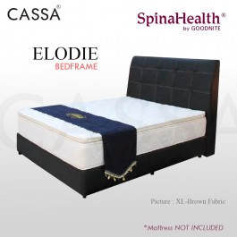 Cassa Goodnite Elodie Brown Fabric Queen Bed Frame Headboard with 11 Inches High Divan Only (Heavy Duty - Wood Structure)