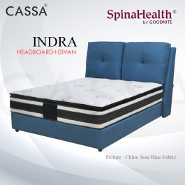 Cassa Goodnite Indra Blue Fabric Queen Bed Frame Headboard with 11.5 Inches High Divan Only (Heavy Duty - Wood Structure)