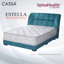 Cassa Goodnite Estella Emerald Green Fabric Queen Bed Frame Headboard with 11 Inches High Divan Only (Heavy Duty - Wood Structure)