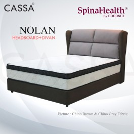 Cassa Goodnite Nolan Brown / Grey Fabric Queen Bed Frame Headboard with 11.5 Inches High Divan Only (Heavy Duty - Wood Structure)