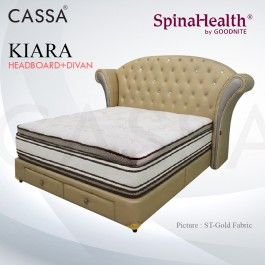 Cassa Goodnite Kiara Gold Fabric Queen Bed Frame Headboard with 11 Inches High Divan Only (Heavy Duty - Wood Structure)