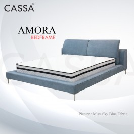 Cassa Goodnite Amora Sky Blue Fabric Queen Bed Frame Headboard with 12.5 Inches High Divan Only (Heavy Duty - Wood Structure)