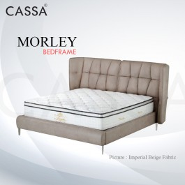 Cassa Goodnite Morley Imperial Biege Fabric Queen Bed Frame Headboard with 15.5 Inches High Divan Only (Heavy Duty - Wood Structure)