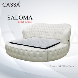 Cassa Goodnite Saloma White Fabric Queen Bed Frame Headboard with 18.5 Inches High Divan Only (Heavy Duty - Wood Structure)