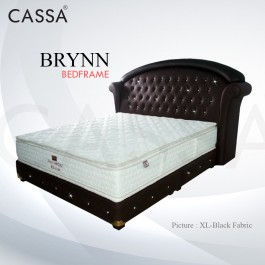 Cassa Goodnite Brynn Black Fabric Queen Bed Frame Headboard with 11 Inches High Divan Only (Heavy Duty - Wood Structure)