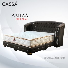 Cassa Goodnite Amiza Black Fabric Queen Bed Frame Headboard with 11.5 Inches High Divan Only (Heavy Duty - Wood Structure)