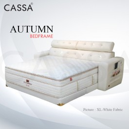 Cassa Goodnite Autumn White Fabric Queen Bed Frame Headboard with 7 Inches High Divan Only (Heavy Duty - Wood Structure)