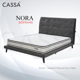 Cassa Goodnite Nora Charcoal Grey Fabric Queen Bed Frame Headboard with 10 Inches High Divan Only (Heavy Duty - Wood Structure)