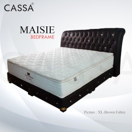 Cassa Goodnite Maisie Brown Fabric Queen Bed Frame Headboard with 11 Inches High Divan Only (Heavy Duty - Wood Structure)