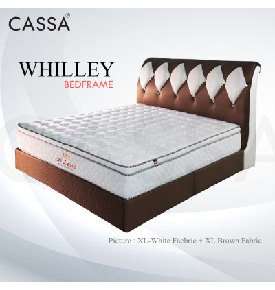 Cassa Goodnite Whilley White Brown Fabric Queen Bed Frame Headboard with 11 Inches High Divan Only (Heavy Duty - Wood Structure)