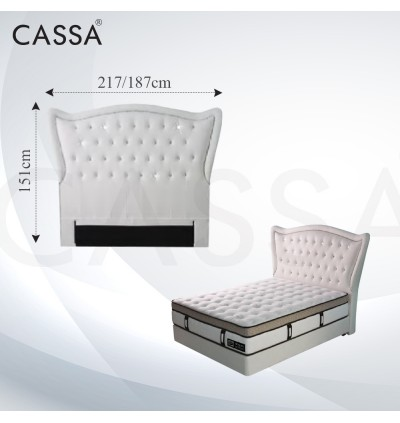 Cassa Goodnite Saylor White Fabric Queen Bed Frame Headboard with 11 Inches High Divan Only (Heavy Duty - Wood Structure)