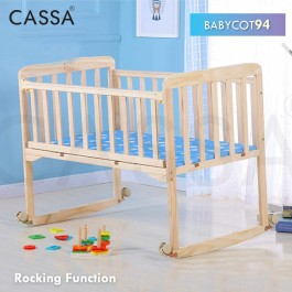 Cassa Cradle Coconut Fibre Baby Mattress / Baby Cot Baby Swing Rocking Bed Natural Solid Wooden (93X54CM)