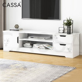 Cassa Whity 4 Feet TV Cabinet Entertaiment Scandinavian-inspired (White/Maple)